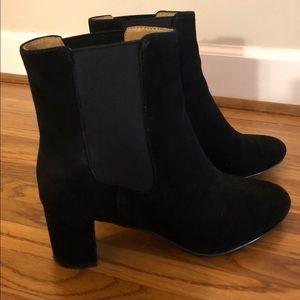 Black suede heeled Chelsea boot